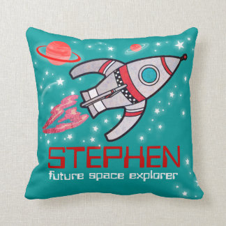 Kids name rocket space explorer red teal pillow
