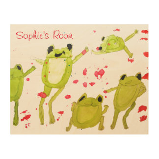 Kids name room art cute frogs in watercolour