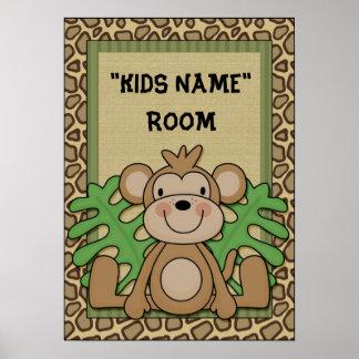 Kids Name room poster monkey