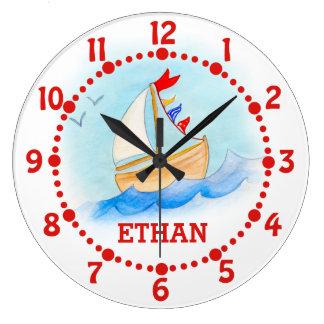 Kids name sailing boat art blue white wall clock