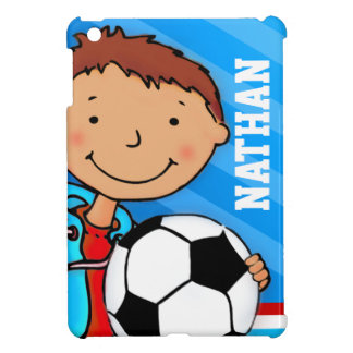 Kids name soccer / football boy blue ipad mini iPad mini cases