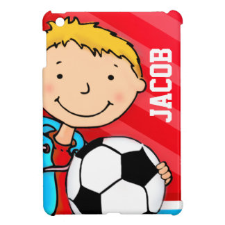 Kids name soccer / football boy red ipad mini cover for the iPad mini