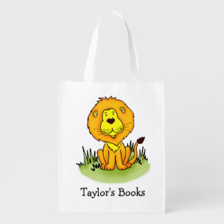 Kids named Lion library book bag Grocery Bags
