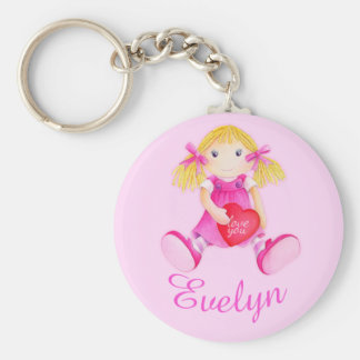 Kids named pink doll whimsical art keychain