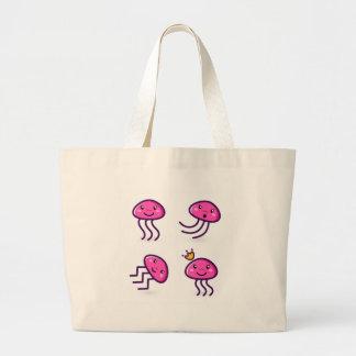 Kids octopuses pink large tote bag