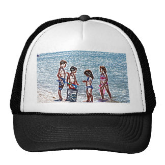 kids on beach sketch playing in sand mesh hats