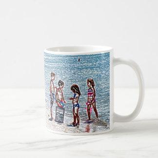kids on beach sketch playing in sand coffee mugs