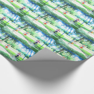 Kids On Park Swings Gift Wrapping Paper
