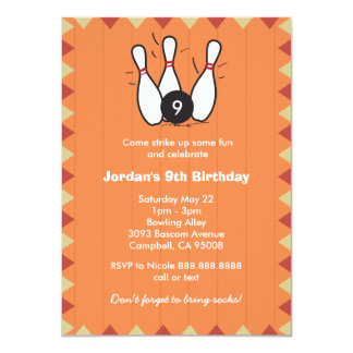 Kid's or Adults Bowling Birthday Party 11 Cm X 16 Cm Invitation Card