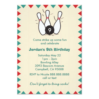 Kid's or Adults Retro Bowling Birthday Party 11 Cm X 16 Cm Invitation Card