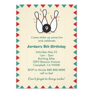 Kid's or Adults Retro Bowling Birthday Party 11 Cm X 16 Cm Invitation Card