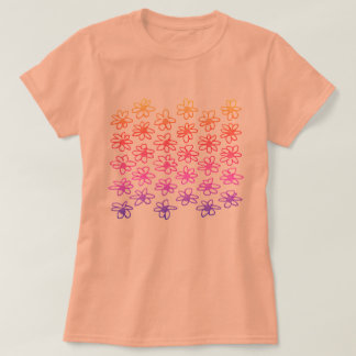 Kids orange t-shirt with Folk flowers