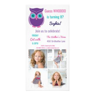 Kids Owl Birthday Party Cute Animal Custom Photo Photo Cards