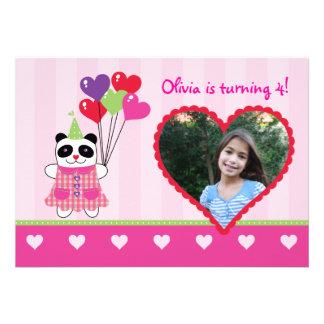 Kids Panda Valentine s Birthday Party Photo Invita Custom Invitation