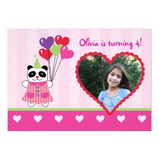 Kids Panda Valentine's Birthday Party Photo Invita Custom Invitation