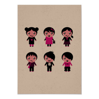 Kids party greeting : EMO Characters Card