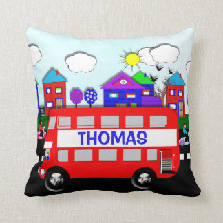 Kids Personalised Big Red Bus Throw Pillow