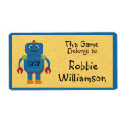 Kids Personalised Blue Robot Toy Sticker