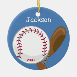 Kids Personalized Baseball and Bat Round Ceramic Decoration