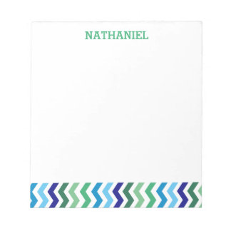 Kids Personalized Chevron Modern Simple Boys Notepad