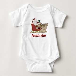 Kids Personalized Christmas Santa Sleigh Baby Bodysuit