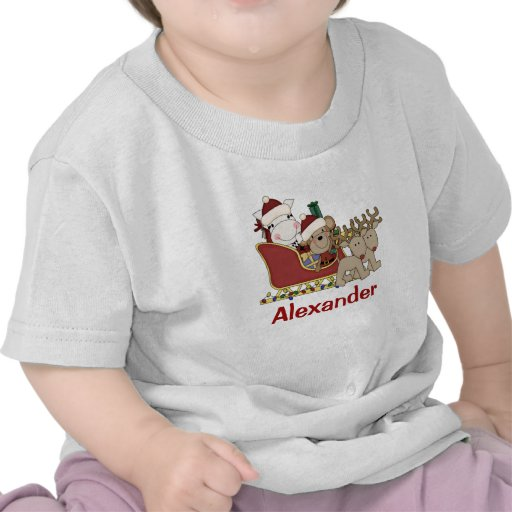 Kids Personalized Christmas Santa Sleigh T Shirts