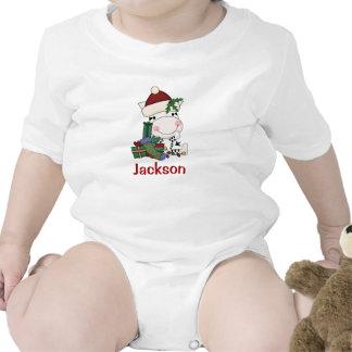 Kids Personalized Christmas Santa Zebra Tees