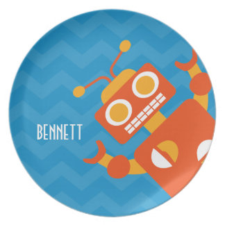 Kids Personalized Crazy Orange Robot Blue Chevron Plate