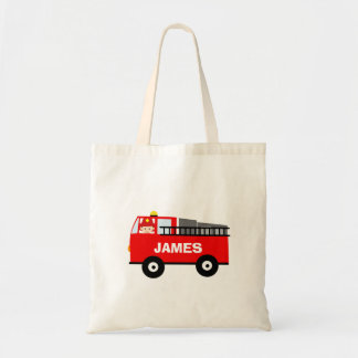 Kids Personalized Fire Engine Tote Bag