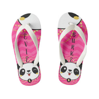 KIDS Personalized Flip Flops (Panda Fun)