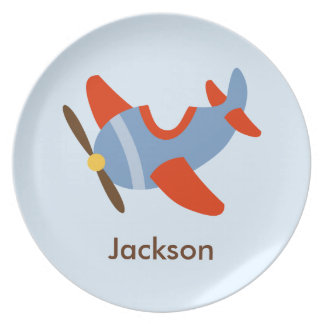 Kids Personalized Red Blue Airplane Plate