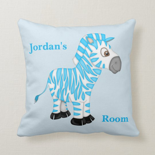 Kid's Pillow Cute Blue Baby Zebra