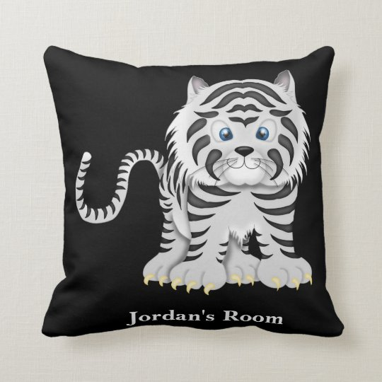 Kid's Pillow Cute White Baby Tiger