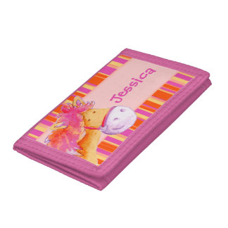 Kids Pink and orange pony /horse add your name Tri-fold Wallet