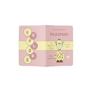 Kids pink and yellow giraffe passport holder