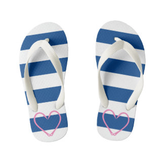 KIDS PINK HEART NAUTICAL FLIP FLOPS
