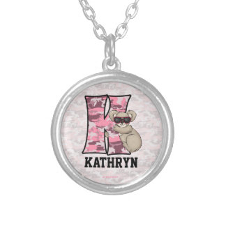 "Kid's Pink Koala Monogram ""K"" Necklace"
