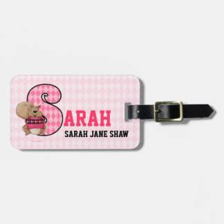 "Kid's Pink Monogram ""S"" Luggage Tags"
