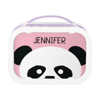 Kids Pink Panda Bear Face Personalized Lunch Box