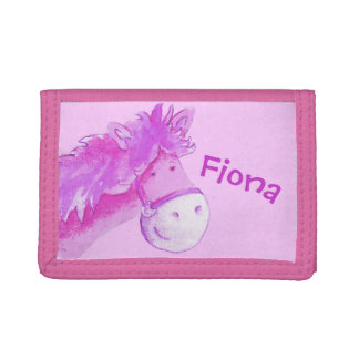 Kids Pink pony /horse add your name Tri-fold Wallet