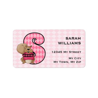 "Kid's Pink Squirrel Monogram ""S"" Address Labels"