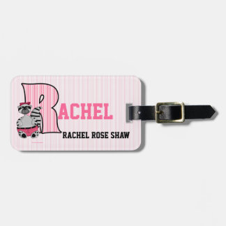 "Kid's Pink Striped Monogram ""R"" Luggage Tags"