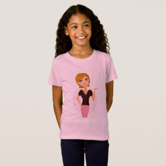 Kids pink t-shirt with Office woman