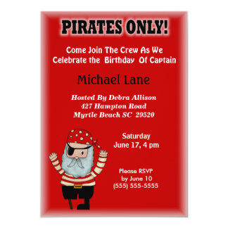 Kids Pirate  Birthday Invitation
