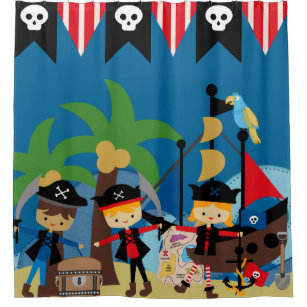 Kids Pirate Ship And Pirates Shower Curtain