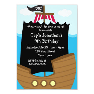 Kids Pirate Ship Birthday Party 13 Cm X 18 Cm Invitation Card