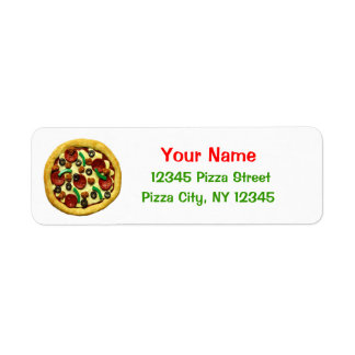 Kids Pizza Birthday Party Return Address Label
