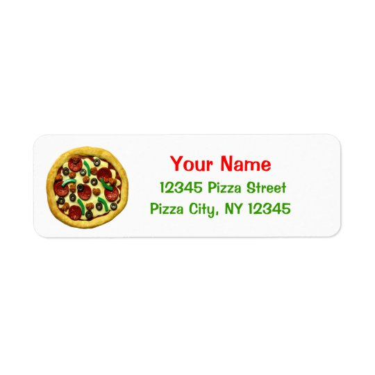 Kids Pizza Birthday Party Return Address Label