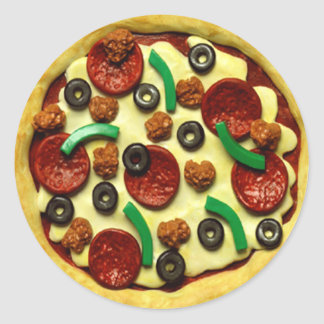 Kids Pizza Birthday Party Round Sticker