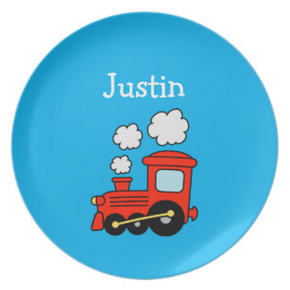 Kids plate with red toy choo choo train